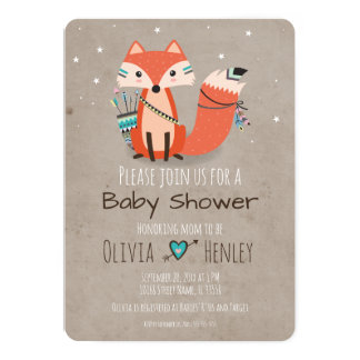 Tribal Woodland Fox Baby Shower Invitation
