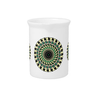 Tribal Yellow Green Black Mandela Design Pitcher