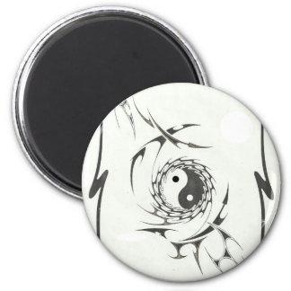 tribal yin yang 6 cm round magnet