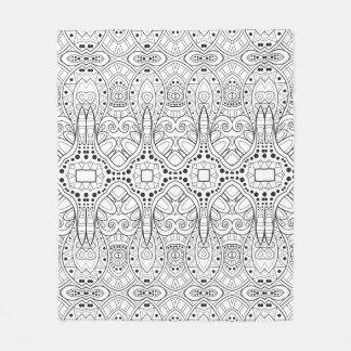 Tribal Zendoodle Design Fleece Blanket
