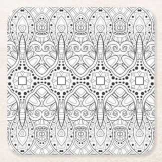 Tribal Zendoodle Design Square Paper Coaster