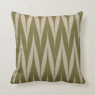 Tribal Zigzag Pattern Olive on Linen Look Cushion