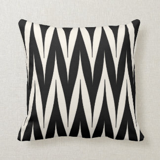 Tribal Zigzag Spike Pattern Black Cushion