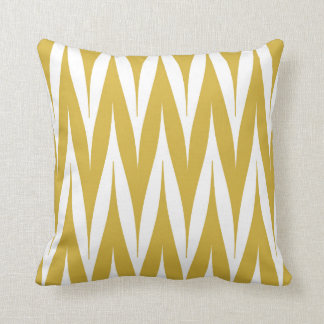 Tribal Zigzag Spike Pattern Mustard Yellow Cushion