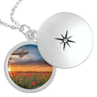 Tribute Spitfire Round Locket Necklace