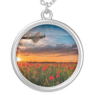 Tribute Spitfire Round Pendant Necklace