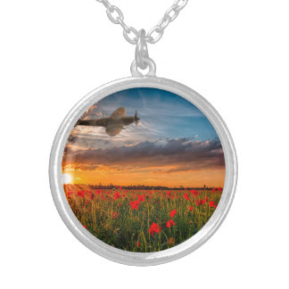 Tribute Spitfire Round Pendant Necklace