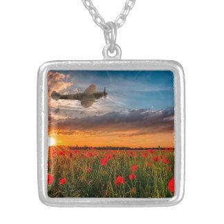 Tribute Spitfire Square Pendant Necklace