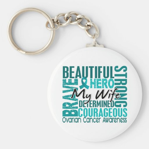 Tribute Square Wife Ovarian Cancer Keychains