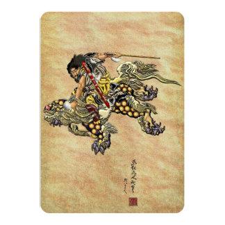 Tribute to Hokusai - Shoki Riding Shishi Lion 13 Cm X 18 Cm Invitation Card