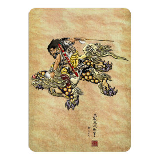 Tribute to Hokusai - Shoki Riding Shishi Lion 13 Cm X 18 Cm Invitation Card