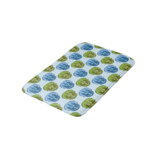 Triceratops Blue and Green Cute Dinosaur Pattern Bath Mat