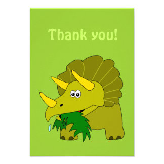 Triceratops Cartoon Dinosaur Thank You Cards Invitations