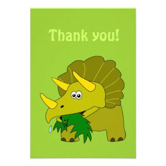 Triceratops Cartoon Dinosaur Thank You Cards Invitations