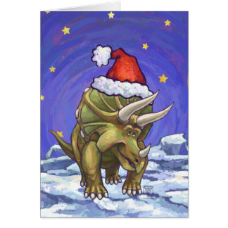 Triceratops Christmas Card