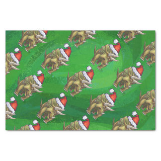 Triceratops Christmas Green Tissue Paper
