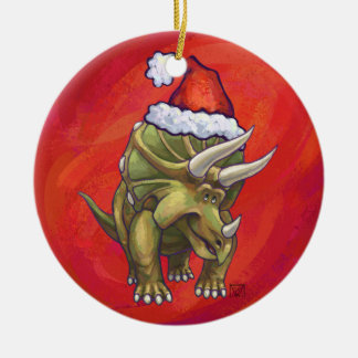 Triceratops Christmas On Red Christmas Ornament