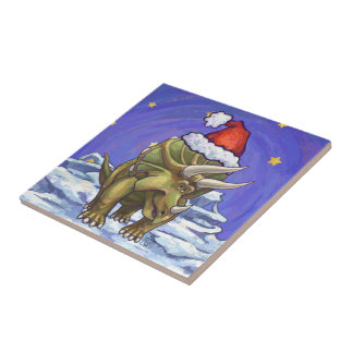 Triceratops Christmas Small Square Tile