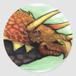 Triceratops Classic Round Sticker