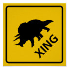 Triceratops Crossing Highway Sign Dinosaur