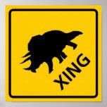Triceratops Crossing Highway Sign Dinosaur