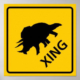 Triceratops Crossing Highway Sign Dinosaur Poster