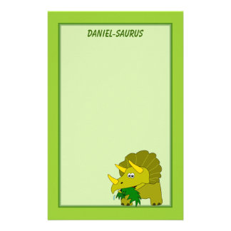 Triceratops Dinosaur Personalized Kids Stationery