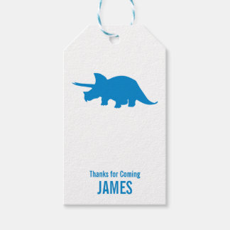 Triceratops Dinosaur Silhouette Birthday Gift Tag