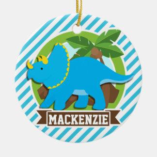 Triceratops Dinosaur; Sky Blue & White Stripes Christmas Ornament