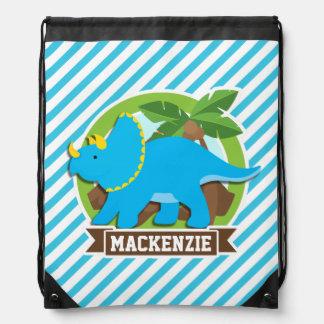 Triceratops Dinosaur; Sky Blue & White Stripes Drawstring Bags