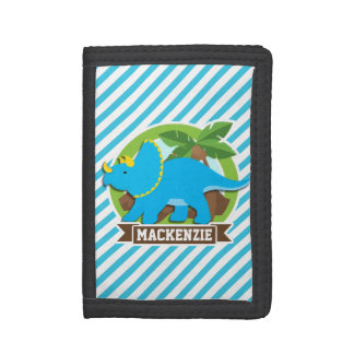 Triceratops Dinosaur; Sky Blue & White Stripes Trifold Wallet
