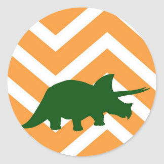 Triceratops on zigzag chevron - Yellow Classic Round Sticker
