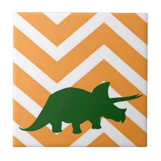 Triceratops on zigzag chevron - Yellow Tiles