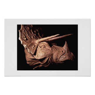 Triceratops Sculpture-Side View Poster