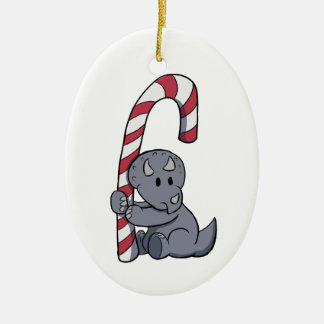 Triceratops's Candy Cane Ornament