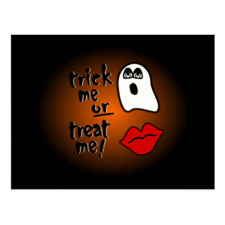 Trick Me Or Treat Me With Big-Eyed Ghost Lips Postcard