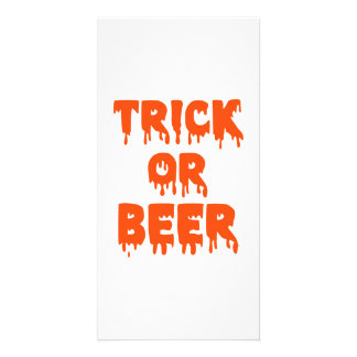 Trick or Beer Halloween Photo Greeting Card
