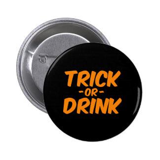 Trick or Drink Orange Funny Halloween 6 Cm Round Badge