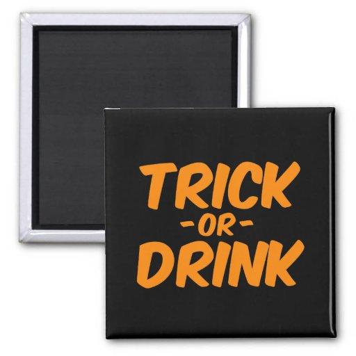 Trick or Drink Orange Funny Halloween Refrigerator Magnet