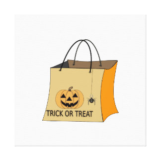 Trick or treat bag clipart stretched canvas prints