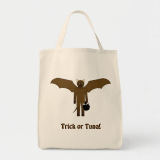 Trick-or-Treat Bag with Cartoon Cat in Bat Costume