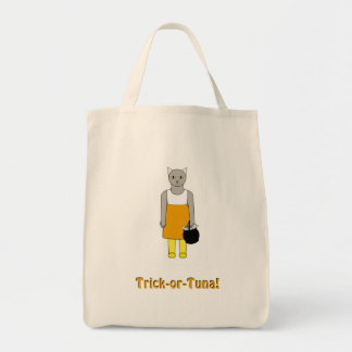 Trick-or-Treat Bag with Cat in Candy Corn Costume