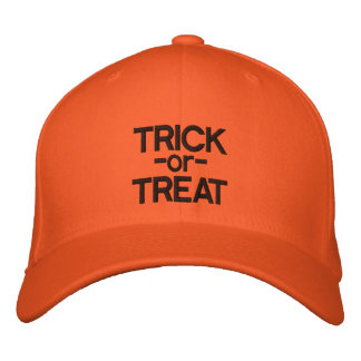 Trick-or-Treat Black and Orange Halloween Hat Embroidered Baseball Caps