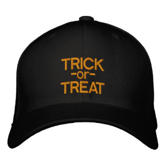 Trick-or-Treat Black and Orange Halloween Hat Embroidered Baseball Cap