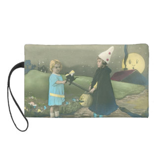 Trick Or Treat Black Cat Man In The Moon Wristlet