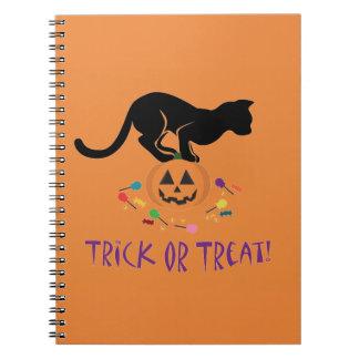 Trick or Treat Black Cat Spiral Note Books