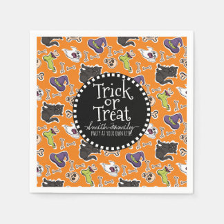 Trick or Treat. Bones Cats & Skulls. Paper Napkins