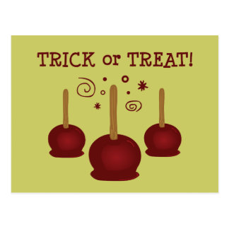 Trick or Treat Candy Apples Postcard