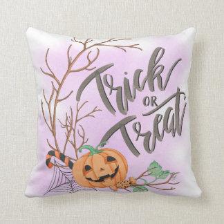 Trick or treat candy cane carved pumpkin script cushion