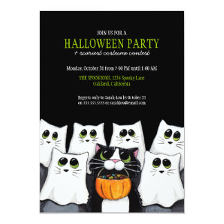 Trick or Treat Cats Halloween Party Invitations